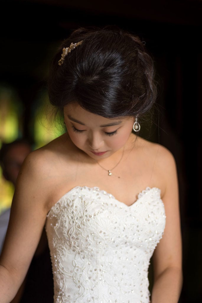 Woman in Wedding dressing looking down